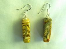 Lampwork Swirl Rectangle Earrings